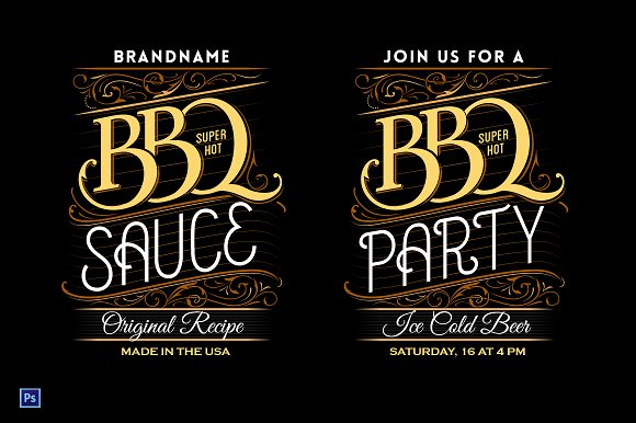 bbq party sauce lettering template illustrations creative market