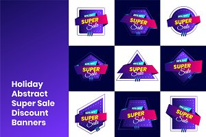 Holiday Abstract Super Sale Banners