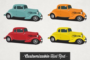 Customizable Hot Rod Vector