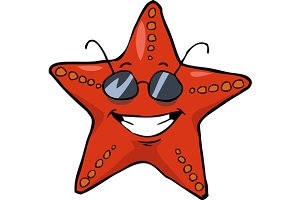 Cartoon starfish in sunglasses