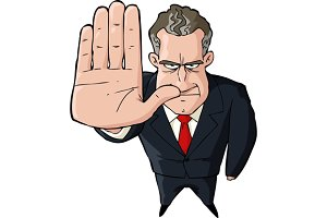 Businessman showing stop gesture