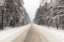 Snowbound Winter road by  in Transportation