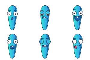 Cute Blue Monster Sticker Set