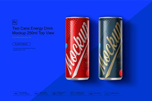 Two Cans Energy Drink Mockup 250ml T
