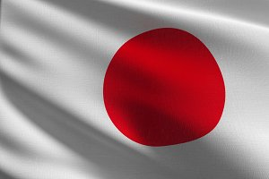 Japan national flag blowing in the w