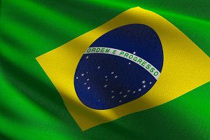 Brazil national flag blowing in the