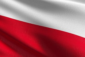 Poland national flag blowing in the