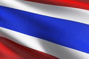 Thailand national flag blowing in th