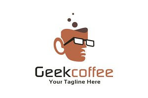 Geek Coffee Logo Template