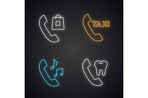 Phone services neon light icons set