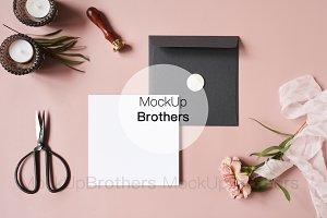 Square card mockup, Blank card Pink