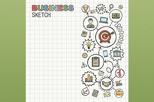 Business hand draw icons on paper