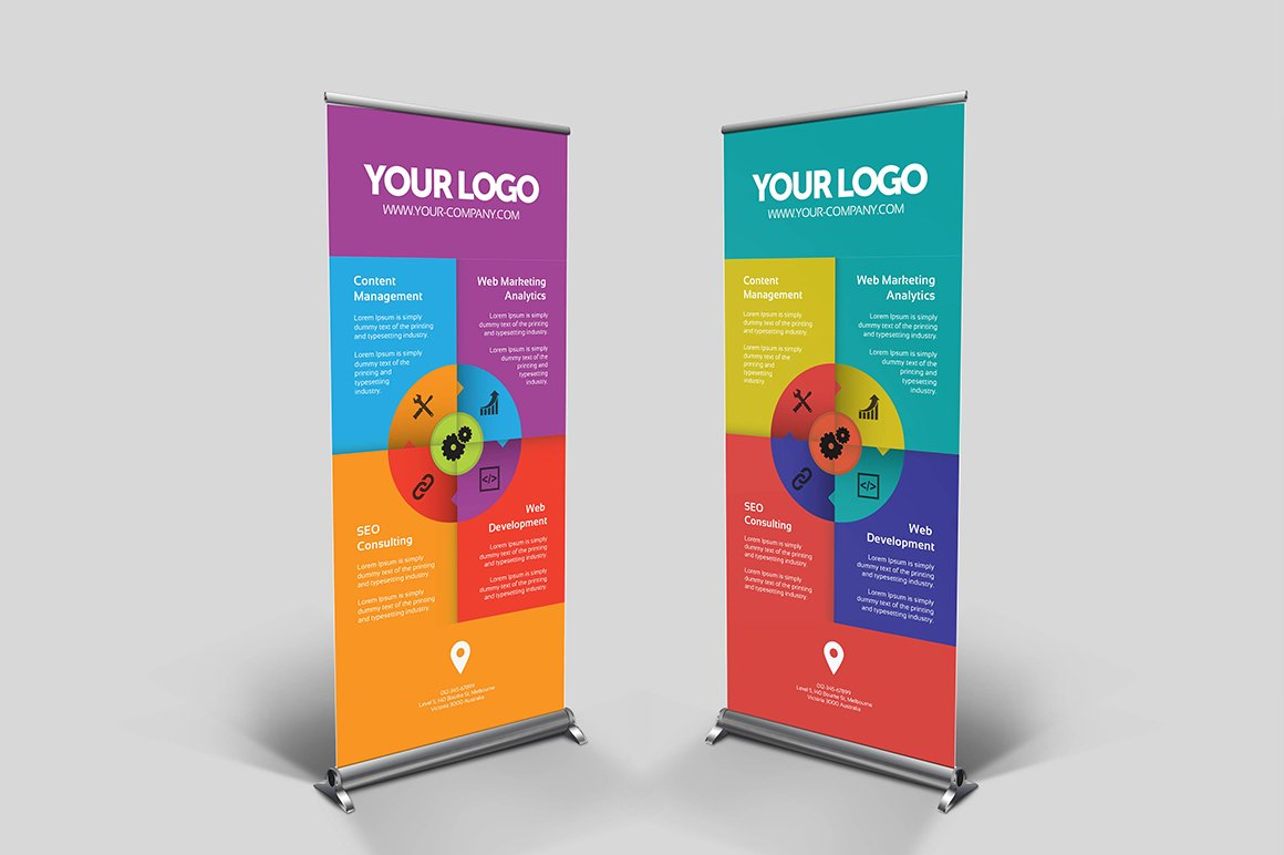 Custom Exhibition Stand Vector : Roll up banners pertamini
