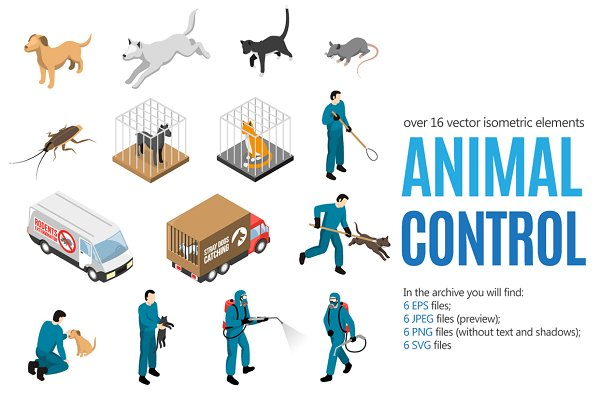 Illustrations: Macrovector - Animal Control Isometric Set