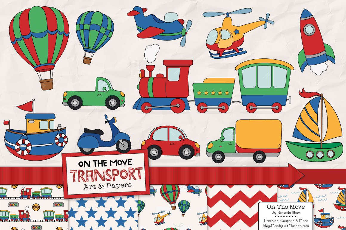 Relatively Transportation Clipart & Patterns ~ Illustrations ~ Creative Market NL33