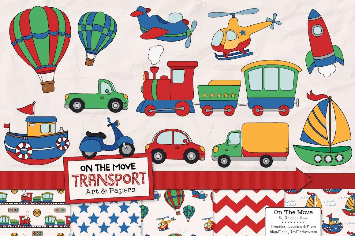 Relatively Transportation Clipart & Patterns ~ Illustrations ~ Creative Market NL33