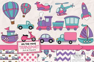 Girls Transporation Illustrations
