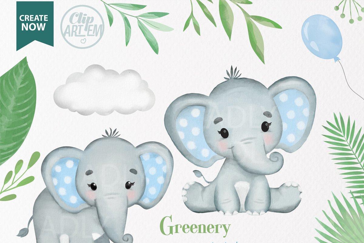 Elephant nursery. Blue boy baby elephants