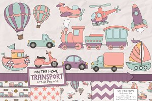Girls Transporation Clipart Set