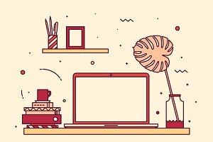 Modern workspace with macbook