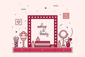 Modern designer makeup table, vanity