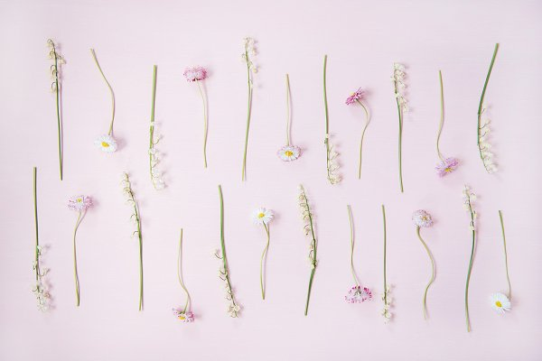 Flat-lay of lily of the valley and
