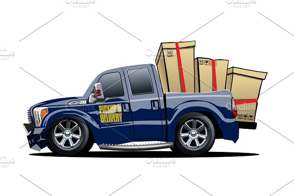 Cartoon delivery or cargo pickup