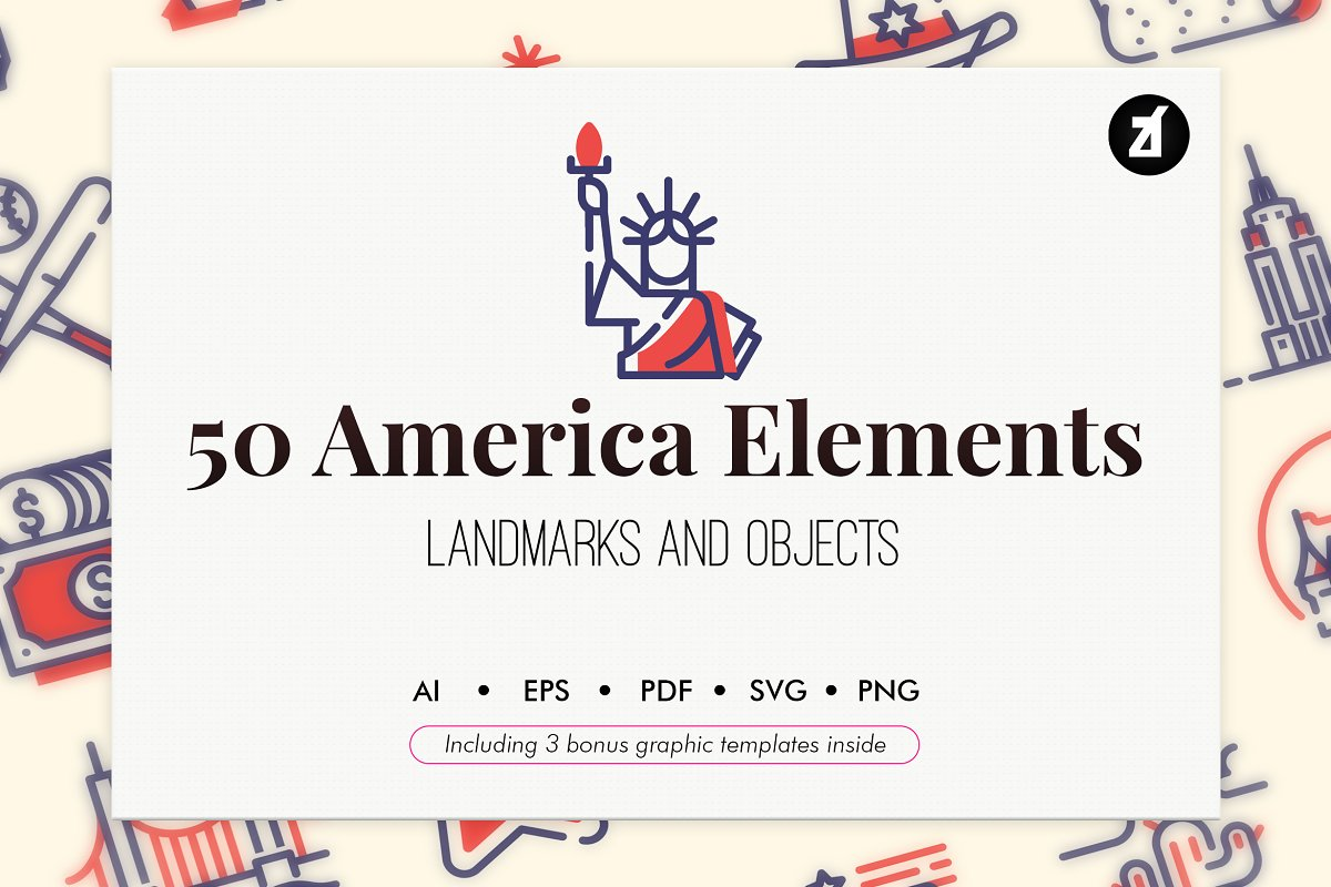50 USA elements with bonus graphics