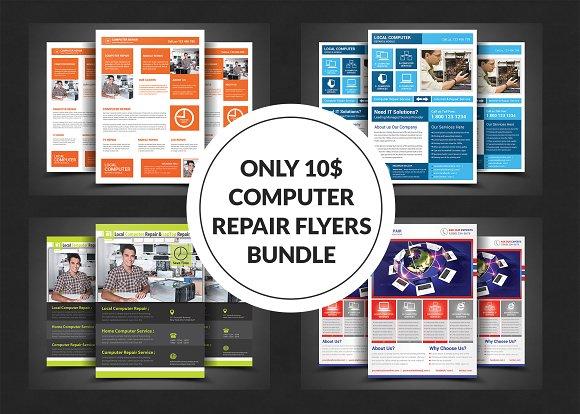 Computer Repair Flyer Bundle Flyer Templates on Creative Market – Computer Repair Flyer Template