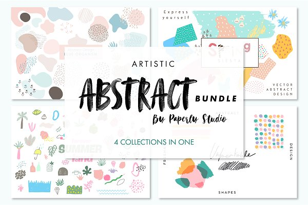 Graphic Patterns: Paperly Studio - Artistic Abstract Bundle - 4 in 1