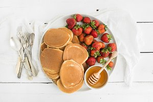 Homemade pancakes with strawberry