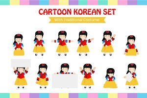 cartoon kids with hanbook costume