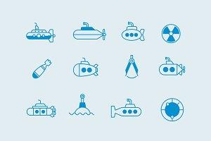 12 Submarine Icons