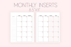 Monthly Planner Inserts 8.5x11