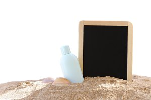 Isolated sunscreen and blackboard.