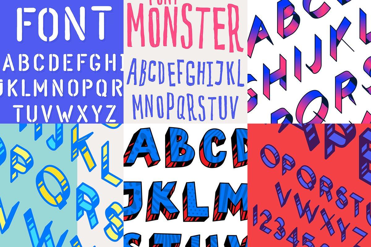 6 vector fonts! and bonus