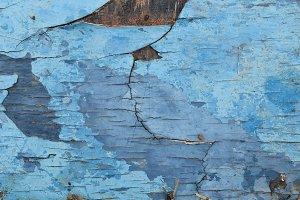 Rotten Cracked Wood Blue Paint