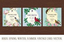 Birds. Spring, Winter, Summer. Cards