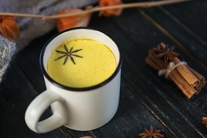 Turmeric with milk and spices. Golde