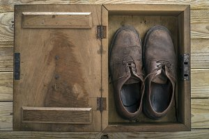 Old Shoes in Wooden Box