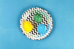 Diy Easter egg painted with colored