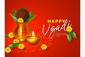 Happy Ugadi holiday composition.