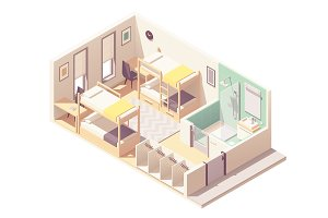 Vector isometric hostel room