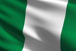 Nigeria national flag blowing in the
