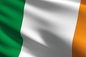 Ireland national flag blowing in the