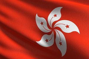 Hong Kong national flag blowing in t