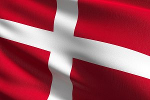 Denmark national flag blowing in the