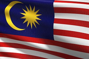 Malaysia national flag blowing in th