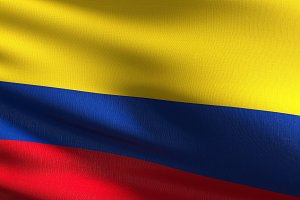 Colombia national flag blowing in th