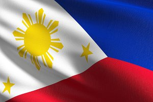 Philippines national flag blowing in
